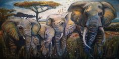 Elefant family. Painting, mixed media. Curries, charcoal, acrylics on canvas.