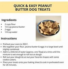 Looking for a simple dog treat recipe? Check out these quick & easy peanut butter dog treats. You just need flour, peanut butter & a couple of eggs to make these yummy homemade dog treats. Dog Cookie Recipes, Easy Dog Treat Recipes, Homemade Dog Cookies, Dog Biscuit Recipes, Homemade Dog Food, Dog Food Recipes, Frozen Dog Treats, Diy Dog Treats, Puppy Treats