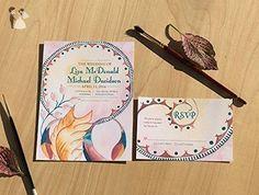 Art Nouveau Wedding Invitation, Watercolor Wedding Invitation, Watercolor Invitation, Boho wedding invitation, Vintage wedding invite - Wedding party invitations (*Amazon Partner-Link)