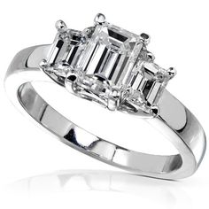 1 1/4 Carat TW Certified Three Stone Emerald-Cut Diamond Engagement Ring in 14k White Gold - Size 4