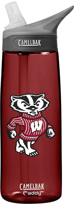 NCAA Wisconsin Badgers Unisex CamelBak Eddy 75L Collegiate Water Bottle, Cardinal, 75 Liter