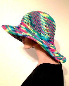 Women's Multicolor Sun Hat/ Handmade Cotton Summer by Africancrab, $35.00