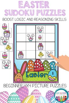 Do you want a fun and engaging activity for your Kindergarten, 1st or 2nd grade students? These Easter 4x4 picture Sudoku puzzles are a great way to get your students using logic and reasoning to solve problems and puzzles! Basically, kids have fun and learn at the same time!! These puzzles can be used as a simple worksheet in your classroom or in math centres, whole group learning, math talks and more! #sudoku #children #Easter #easy #printables #math #logic #reasoning #1stgrade #2ndgrade Sudoku Puzzles, Puzzles For Kids, Worksheets For Kids, Teaching Resources, Classroom Resources, Preschool Education, Math Center Rotations, Easter Activities For Kids, Math Talk