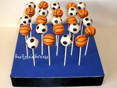 basketball and soccer ball cake pops!
