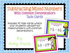 Fraction Task Cards Subtracting Mixed Numbers with Common Denominators Number Activities, Math Task Cards, Percents, 5th Grades, Fractions, Cover Pages, Teaching Math, Numbers, Student