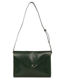 Large Envelope Bag in Deep Olive Large Envelope, Recycled Leather, Beautiful Handbags, Leather Design, Olive Green, Leather Handbags, Recycling, Shoulder Bag, Fashion Outfits
