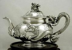 Chinese Export Silver 4 Dragons Rising from Fire Teapot c1890 Chong Woo | eBay