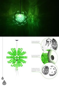 A central plug-and-play sphere lets you screw in old bottles of whatever color you might choose to create unique visual effects while illuminating a room.
