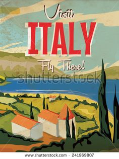 poster, travel, italian, italy, holiday, classic italy poster, italian lakes poster, building, vintage, vintage italy travel poster, visit italy