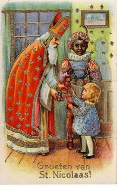 Sinterklaas is an annual tradition in The Netherlands which involves Saint Nicolas and his helpers, known as ' Zwarte Piet' Vintage Ephemera, Vintage Cards, Vintage Postcards, Vintage Christmas Images, Christmas Pictures, Santa Pictures, Noel Christmas, Father Christmas, Xmas