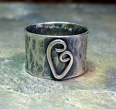 Heart Ring wide band rustic sterling silver by LavenderCottage