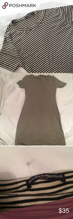 NWOT Brandy Melville Janelle dress ribbed striped Janelle dress. NWOT. Ribbed material and bodycon style. Extremely comfy and soft material that stretches. Best fit for xs or s. FINAL PRICE WILL DECLINE ALL OFFERS Brandy Melville Dresses