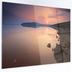 "DesignArt 'Beautiful Sunrise over Tranquil Sea' Photographic Print on Metal Size: 30"" H x 48"" W x 1"" D"