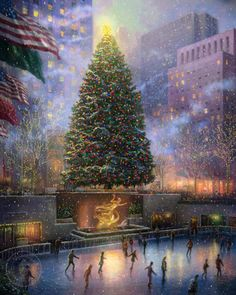 thomas kinkade painting- would love to go iceskating with the family in NY at Christmastime.