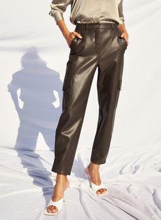 MODERN CARGO PANT - Vegan leather cargo pants Jacket Dress, Dress Skirt, Denim Leggings, Cargo Pants, Fashion Pants, Shirt Blouses, Vegan Leather, Bag Accessories, Autumn Fashion