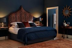DRAMATIC AND COSY HAGUE BLUE Contributed by The Headboard Workshop Here, Hague Blue provides the ultimate in luxurious backdrops to a stunning boutique style bedroom with Slipper Stain Eggshell woodwork. The dramatic headboard and evening lighting make it perfect for an independent hotel or guest room.  Styles Contemporary , Eclectic  Rooms and spaces Bedroom  FEATURED PRODUCTS: Hague Blue - 30. Farrow & Ball Inspiration