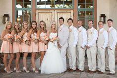 Love these short peach bridesmaid dresses Wedding Wishes, Wedding Pics, Wedding Bells, Wedding Ideas, Wedding Stuff, Bridesmaids And Groomsmen, Bridesmaid Dresses, Wedding Dresses, Groomsmen Suits