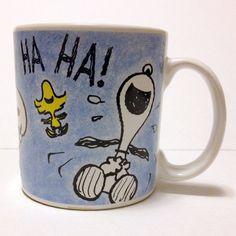 Snoopy Woodstock Coffee Mug Applause Laughing Peanuts Schulz Blue Snoopy Mug, Snoopy And Woodstock, Peanuts, Laughing, Coffee Mugs, Tableware, Blue, Ebay, Dinnerware