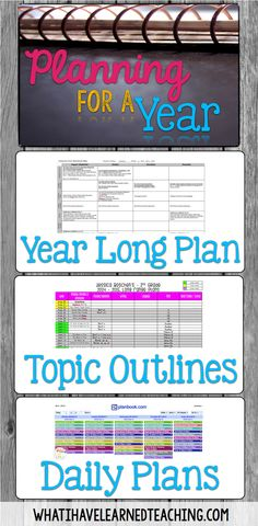Planning for Next Year: Organizing the Year, the Day's Topics & Lesson Plans is about how to do long term planning and translate it into short term planning. Organize your lessons, plan your curriculum, and see the big picture and small picture of your ye Teacher Organization, Teacher Tools, Teacher Hacks, Teacher Resources, Organized Teacher, Teacher Planner, Planner Organization, Lesson Plan Organization, School Planner