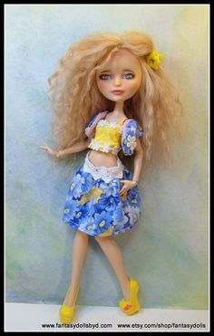 Ever After High Doll Repaint with mohair reroot and custom OOAK Outfit by Fantasy Dolls by Donna Anne Find me on Facebook -