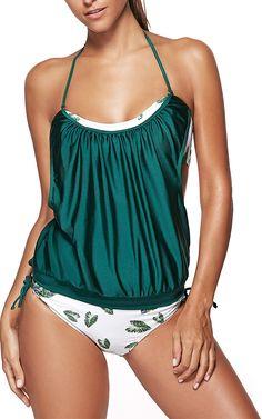 Leaf Print Halter Hit Color Tankini Swimwear