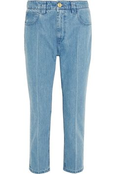 Topshop Unique's cropped skinny 'Draycott' jeans are cut to sit high on your waist. Seen on the London runway, this soft denim pair has lightly bleached front creases to elongate your legs. Team them with statement shoes.