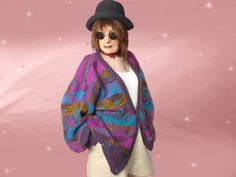 Mens Vintage Funky Cardigan, Purple Turquoise Acrylic Knit, Guy's XL, Ugly Baggy Streetwear Sweater is Cute on Plus Size Women too by LunaJunctionVintage on Etsy Vintage Men, Vintage Fashion, Plus Size Vintage, Big Men, Plus Size Women, Street Wear, Turquoise, Knitting, Purple