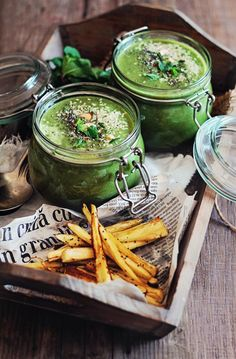 Spring Green Soup with Parsnip Frieds (omit chia seeds, use coconut aminos for AIP)