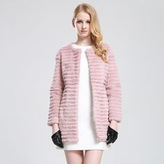 Pink Genuine Rex Rabbit Fur Coat Jacket Long style Coat Female Fur Vest Overcoat Wholesale Retail OEM $353.75
