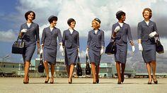 Delta Air Lines\' stewardesses winter uniforms, 1965-68.