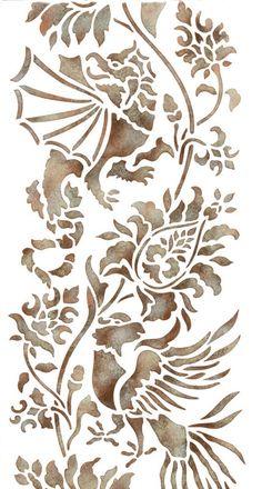 Wall Stencils   Small Oriental Brocade Stencil   Royal Design Studio