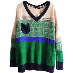 Chicnova Fashion Contrast Color Stripes V-neckline Pullover (31 CAD) ❤ liked on Polyvore featuring tops, sweaters, long sleeves, loose pullover sweater, long sleeve pullover, v neck pullover sweater, long green sweater and loose sweaters