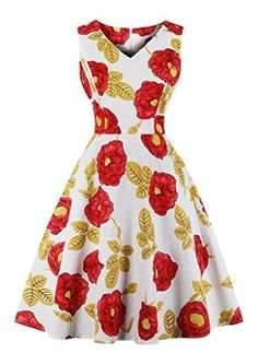 a0852d56572d Scoop Neck Sleeveless 1950s Retro Vintage Style Hollywood Party Large Swing  Midi Dress.
