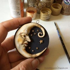 clay art Halloween Folk Art by Melissa Valeriote Crescent Moon amp; Star Ornament a work in progress Polymer Clay Kunst, Fimo Clay, Polymer Clay Projects, Polymer Clay Creations, Ceramic Clay, Polymer Clay Jewelry, Polymer Clay Halloween, Ceramic Pendant, Art Populaire
