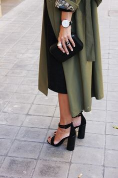 green coat & high heels