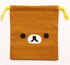 brown Rilakkuma bear bento pouch lunch bag