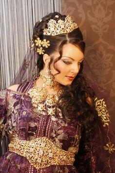 Tekchita de mariée couleur mauve doré, caftan, robe de mariée ...