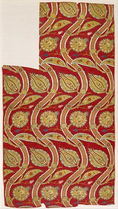 Fragmentary Loom Width with Wavy-vine Pattern  Object Name:     Fragment Date:     ca. 1565–80 Geography:     Turkey, probably Istanbul Culture:     Islamic Medium:     Silk, metal wrapped thread; lampas (kemha)