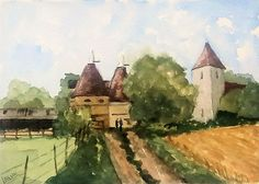 Buy Oasts and Church at Preston Village, Kent. An original painting!, Watercolour by Julian Lovegrove Art on Artfinder. Discover thousands of other original paintings, prints, sculptures and photography from independent artists.