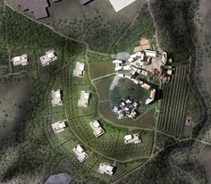 Top view of ''Monticello Resort.'' This Project has been made for a competition in San Giustino / Italy, Monticello Resort is a new village that consisting of Hotel, Wellness centre and series of luxary Villas. Monticello Resort also surrounded by wine yards and olive trees.#Hotel #Villas #WellnessCentre #Competition #Bronze #Metal #White #Stone #Trees #Nature #Architecture #Exterior #Interior #Design #Render #3D #Top #View #ClaudioNardi #ClaudioNardiArchitects