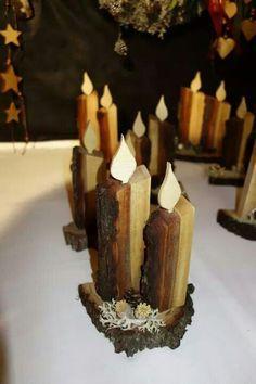 Kerzen aus Brennholz