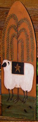 ~*primitive*~* hp folk art sheep *~* willow *~* barn star *~* crow *~*stretcher