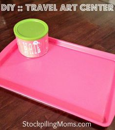 Travel Art Center. Supplies:  Cookie sheet from your favorite $1 store  1 empty can – I chose a peanut container so that it would have a lid  Scrap of pretty paper  Double stick tape  Magnets found at any craft store  Primer spray paint  Spraypaint color of your choice  Optional: Letter stickers