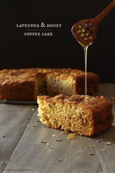 Lavender and Honey Coffee Cake .love that spoon...