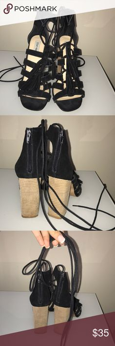 Steve Madden Sandals Black suede Steve Madden Heels with dangling tassels and laced to wrap around your ankle, or up your leg. Size 9. Steve Madden Shoes Heels