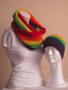 Vans Wear***Handmade infinity scarf and beanie hat set in the color of Rainbow, very lovely warm and cozy for the winter, it's 8 inches wide and 56 inches long of wrap around your body, match your beanie hat in medium length with double crochet stitch!  This scarf and beanie hat is made from a %100 soft acrylic yarn.  For CARE: Machine wash warm, gentle cycle. Tumble dry low. Do not over dry. For best results on fringe, hand wash, lay flat to dry.