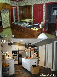 Painted soffit instead of molding to ceiling.  Matt and Meredith's HUGE Kitchen Makeover by Dear Lillie