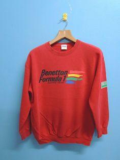 b1de1362c7a Vintage Benetton Formula One Big Logo Sport Sweatshirt Pull Over Crewneck  Sweater Size L