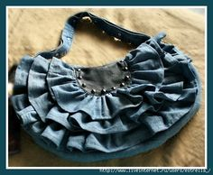 Recycled denim jean design handbag would make a cute pillow too..