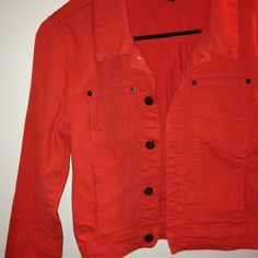 Orange jean jacket Versatile-spring and summer fun jacket worn once. Great condition Jackets & Coats Jean Jackets